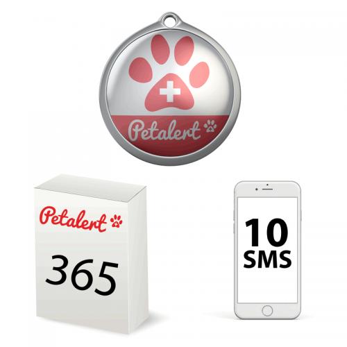 Médaille 30mm + Abonnement PetAlert 365 + 10 SMS